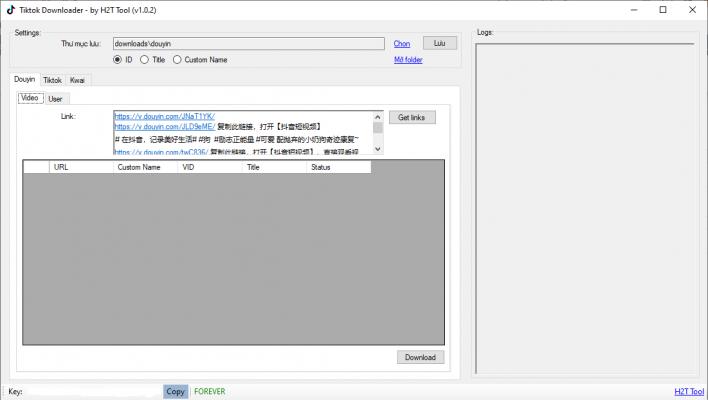 Tiktok Downloader - Tải video Tiktok/Douyin không logo hàng loạt