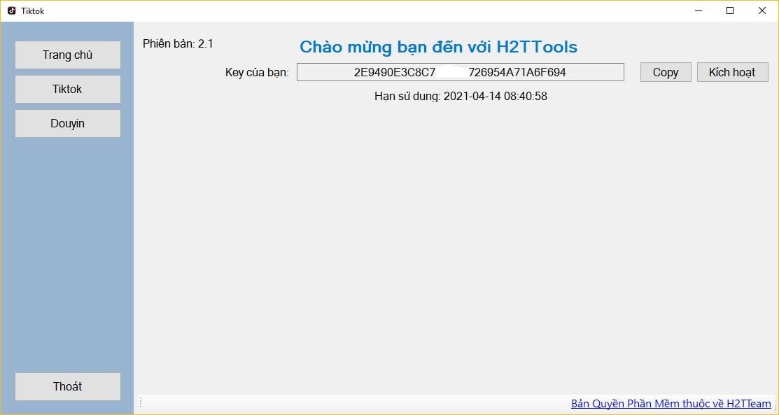 Giao diện chính của Tiktok Downloader 2.1